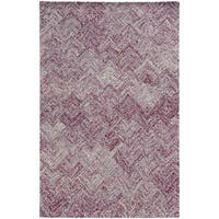 Pantone Universe Colorscape Hand-crafted Loop Pile Purple Faded Diamond Wool Area Rug - 8' x 10'