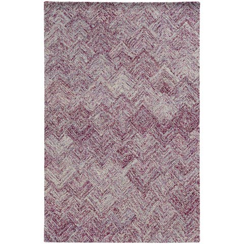 Pantone Universe Colorscape Hand-crafted Loop Pile Purple Faded Diamond Wool Area Rug (8' x 10') - 8' x 10'