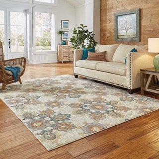 Ivory/ Grey Floral Area Rug (6'7 x 9'6)