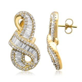 Montebello 14k Yellow Gold 1 4/5ct TDW Round and Baguette-cut Diamond Stud Earrings (G-H, VS1-VS2)