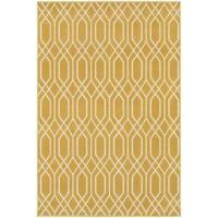 StyleHaven Lattice Gold/Ivory Indoor-Outdoor Area Rug - 6'7 x 9'6