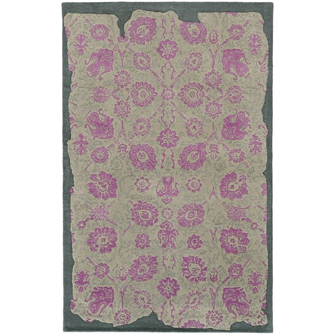 Hand-crafted Eroded Oriental Grey/ Pink Wool Rug (10' X 13') - 10' x 13'