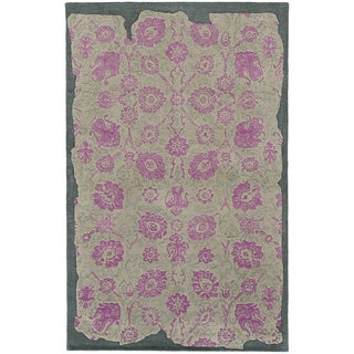 Hand-crafted Eroded Oriental Grey/ Pink Wool Rug (10' X 13')