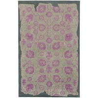 Hand-crafted Eroded Oriental Grey/ Pink Wool Rug (8' X 10')