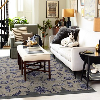 Hand-crafted Eroded Oriental Grey/ Blue Wool Rug (8' X 10') - 8' x 10'