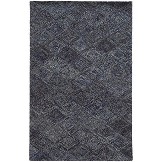 Hand-crafted Faded Diamond Blue/ Grey Wool Rug (10' X 13')
