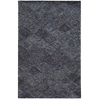 Hand-crafted Faded Diamond Blue/ Grey Wool Rug - 10' X 13'