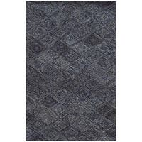 Hand-crafted Faded Diamond Blue/ Grey Wool Rug (10' X 13') - 10' x 13'