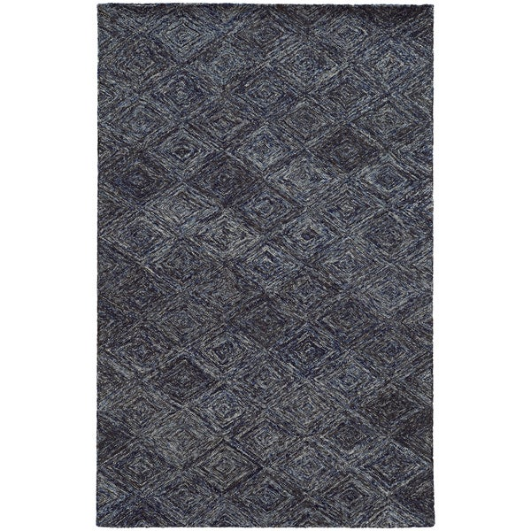Hand-crafted Faded Diamond Blue/ Grey Wool Rug - 8' x 10'