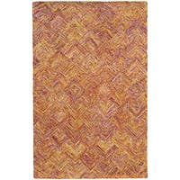 Hand-crafted Faded Diamond Orange/ Pink Wool Rug (10' X 13') - 10' x 13'