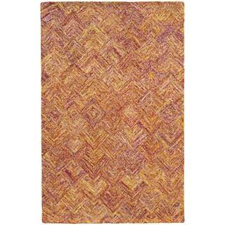 Hand-crafted Faded Diamond Orange/ Pink Wool Rug (8' X 10')