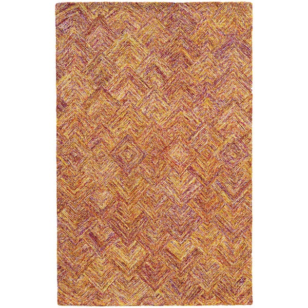 Hand-crafted Faded Diamond Orange/ Pink Wool Rug - 8' x 10'