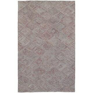 Hand-crafted Faded Diamond Rust/ Grey Wool Rug (10'0 X 13'0)