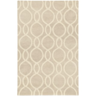 Hand-crafted Wool Oval Lattice Beige/ Ivory Rug (10' x 13')