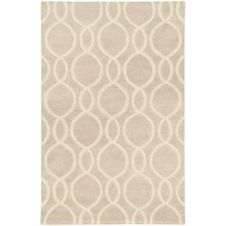 Hand-crafted Wool Oval Lattice Beige/ Ivory Rug (8' x 10')