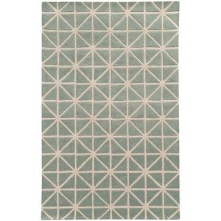 Hand-crafted Wool Triangle Grid-work Grey/ Ivory Rug (10' x 13') - 10' x 13'