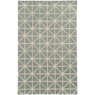 Hand-crafted Wool Triangle Grid-work Grey/ Ivory Rug (8' x 10')