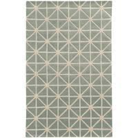 Hand-crafted Wool Triangle Grid-work Grey/ Ivory Rug (8' x 10') - 8' x 10'
