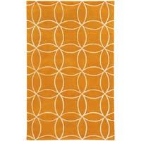 Hand-crafted Wool Inter-locking Circles Orange/ Ivory Rug (10' x 13') - 10' x 13'
