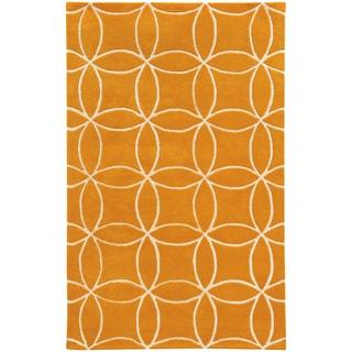 Hand-crafted Wool Inter-locking Circles Orange/ Ivory Rug (8' x 10')