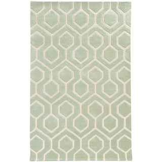 Hand-crafted Wool Geometric Odgee Green/ Ivory Rug (10' x 13')