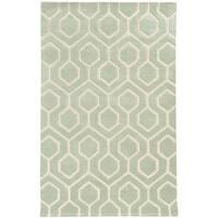 Hand-crafted Wool Geometric Odgee Green/ Ivory Rug (10' x 13')
