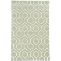Hand-crafted Wool Geometric Odgee Green/ Ivory Rug (8' x 10') - 8' x 10'