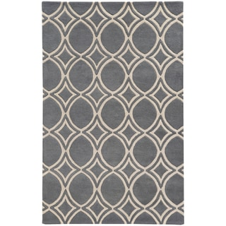 Hand-crafted Wool Oval Highlights Charcoal/ Ivory Rug (8' x 10')