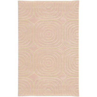 Hand-crafted Wool Soft Geometric Pale Pink/ Ivory Rug (10' x 13')