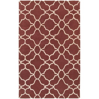 Hand-crafted Wool Ornate Lattice Wine Red/ Ivory Rug (10'0 x 13'0)