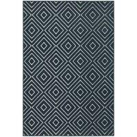 StyleHaven Diamond Navy/Ivory Indoor-Outdoor Area Rug - 3'3 x 5'