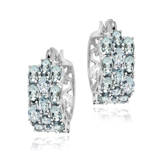 Glitzy Rocks Sterling Silver Aquamarine 3-tier Hoop Earrings