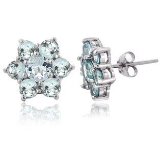 Glitzy Rocks Sterling Silver Aquamarine Flower Stud Earrings