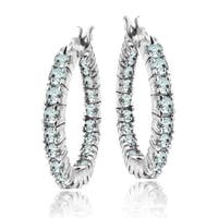 Glitzy Rocks Sterling Silver Aquamarine Inside-out 20mm Hoop Earrings
