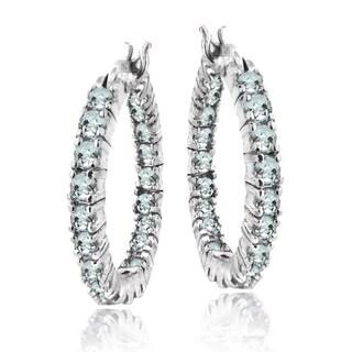 Glitzy Rocks Sterling Silver Aquamarine Inside-out 20mm Hoop Earrings