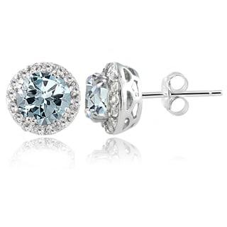 Glitzy Rocks Sterling Silver Aquamarine White Topaz Stud Earrings