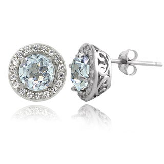 Glitzy Rocks Sterling Silver Aquamarine White Topaz Round Stud Earrings
