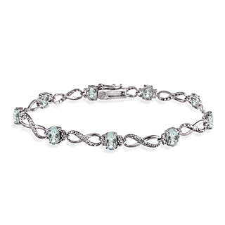 Glitzy Rocks Sterling Silver Aquamarine Diamond Accent Infinity Bracelet|https://ak1.ostkcdn.com/images/products/9932793/P17088583.jpg?impolicy=medium