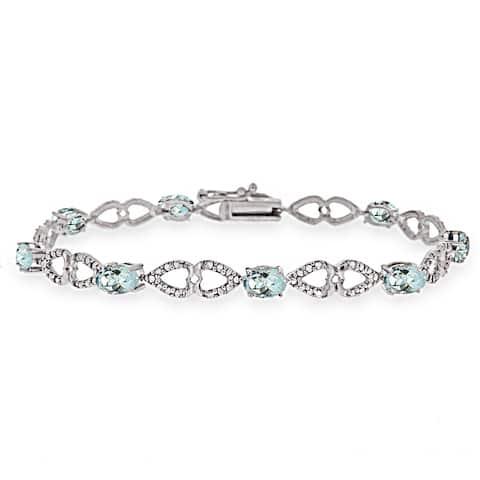 Glitzy Rocks Sterling Silver Aquamarine Diamond Accent Heart Link Bracelet