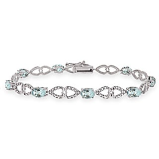 Glitzy Rocks Sterling Silver Aquamarine Diamond Accent Heart Link Bracelet