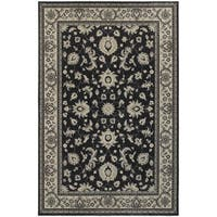 Bordered Traditional Persian Charcoal/ Ivory Rug