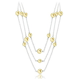 Mondevio Two-tone Sterling Silver Graduated Bead 3-strand Rolo Chain Necklace