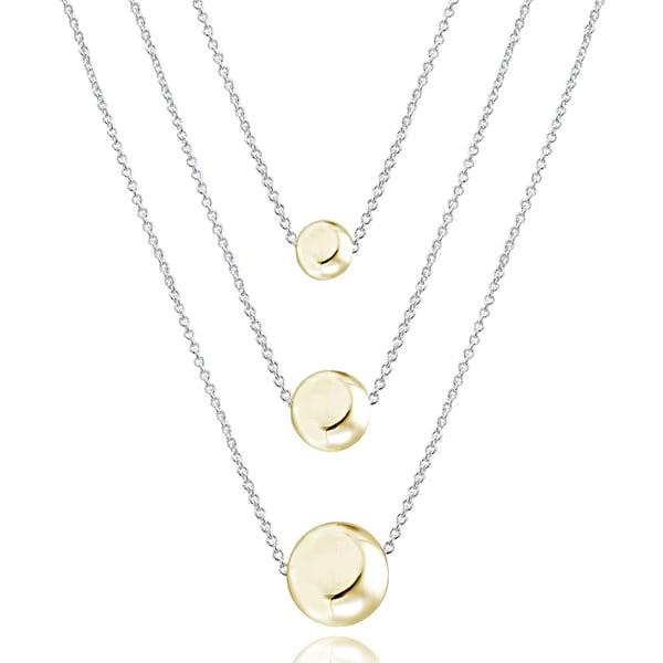 Mondevio Two-tone Sterling Silver Graduated Bead 3-strand Rolo Chain Necklace