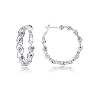Mondevio Sterling Silver Bead Hoop Earrings