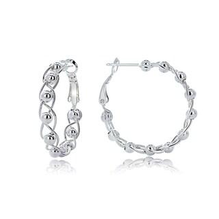 Mondevio Sterling Silver Bead Hoop Earrings