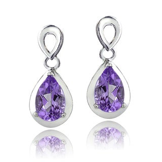 Glitzy Rocks Sterling Silver Gemstone Teardrop Earrings