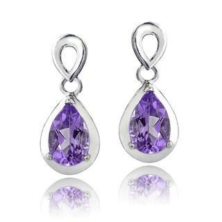 Glitzy Rocks Sterling Silver Gemstone Teardrop Earrings (3 options available)