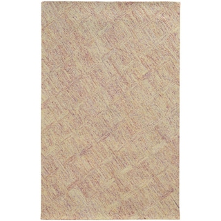 Pantone Universe Colorscape Hand-crafted Loop Pile Pink/ Beige Faded Diamond Wool Area Rug (8' x 10')