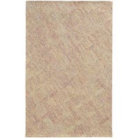 Pantone Universe Colorscape Hand-crafted Loop Pile Pink/ Beige Faded Diamond Wool Area Rug - 8' x 10'