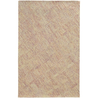Pantone Universe Colorscape Hand-crafted Loop Pile Pink/ Beige Faded Diamond Wool Area Rug (8' x 10') - 8' x 10'